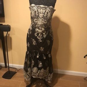 Black/gold lace long dress